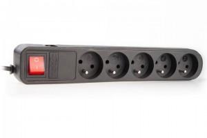 Prepäťová ochrana Natec SP5 EXTREME MEDIA 5 zásuviek, 0.6m - 5m, čierna