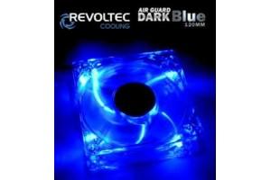 Ventiláto Revoltec Dark Blue 120x120x25mm, modré LED