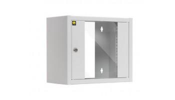 Netrack závesný rack 10'' 6U/300 mm, farba popolavá, sklenené dvere