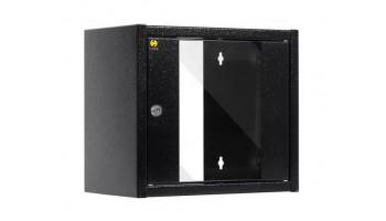 Netrack závesný rack 10'' 6U/300 mm, farba grafit, sklenené dvere