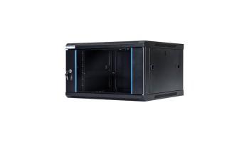 Závesný rack skriňa START.LAN 19'' 6U 600x450mm - sklenené dvere čierny